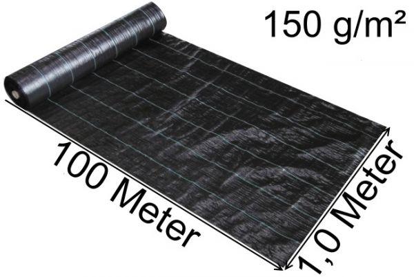 100m x 1m Bodengewebe Bändchengewebe Unkrautfolie Unkrautvlies Unkraut Schutz Gewebe 150g/m²