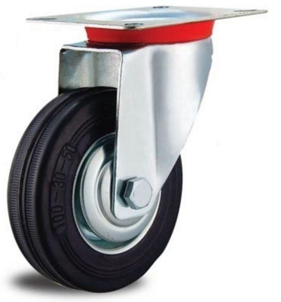 Transportgeräterollen 150 mm mit Rad aus Stahlblech Vollgummibereifung schwarz mit Anschraubplatte