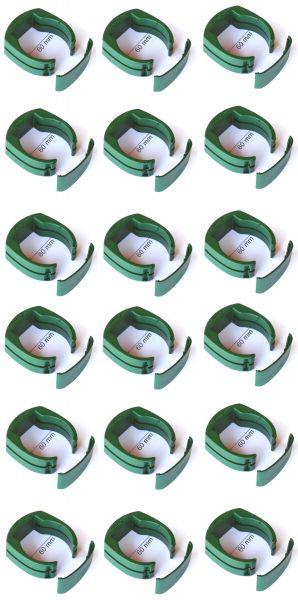 18 x 60 mm Pfahl-Schelle f. Tor Pfosten Gartentor Schweißdraht Gartengitter grün Halter Clip Anker