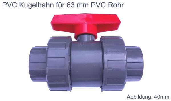 PVC Kugelhahn 63 mm Kunststoff Kugelventil Klebeanschluß Klebemuffe Pool Agrar