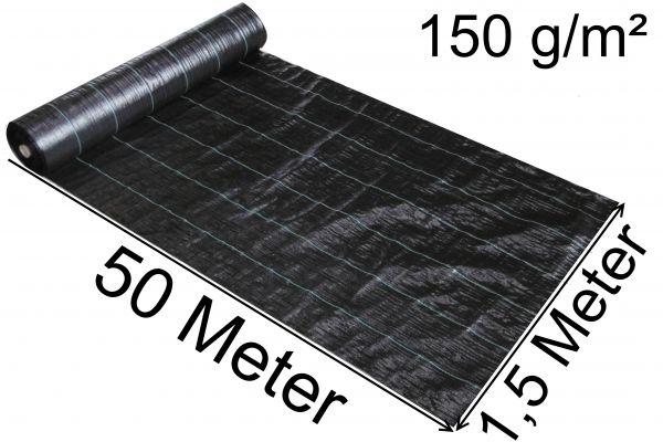 Unkrautfolie 50m x 1,5m Unkrautvlies Unkraut Schutz Gewebe 150g/m² EXCOLO Schweres Bodengewebe Bändchengewebe