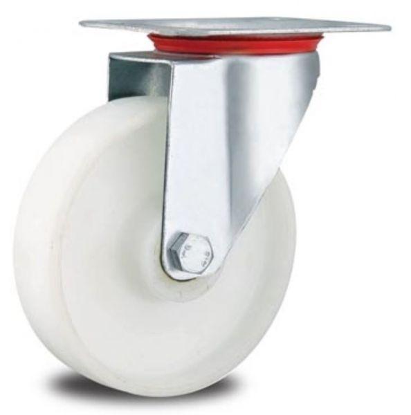 Lenkrolle 80 mm Transportrollen Polypropylen PP Felgen um Reifen weiss PP für Hygiene Lebensmittel