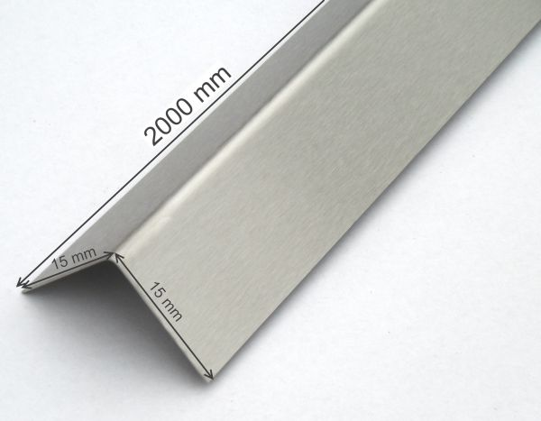 Edelstahl-Winkel 15x15 mm Eckschutz Eck-leiste Kantenschutz-winkel 2m langg Schliff K 240
