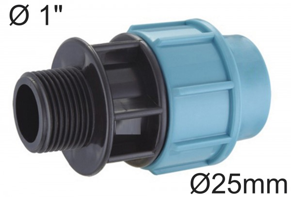"""PE Rohr Adapter / Übergang Ø 25 mm auf 1"""" Zoll AG Außengewinde"""
