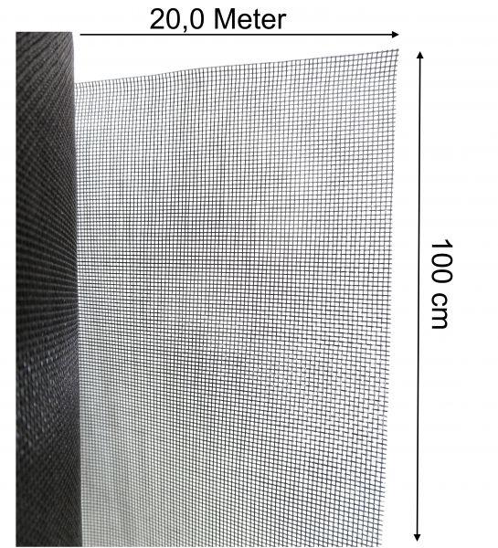 Mückenschutz Fliegennetz Mückengitter Meter-Ware aus Fiberglas 100cm x 20m lang