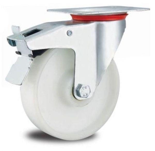 Lenkrolle 125 mm mit Arretierung Stopp Bremse Polypropylen Felge und Reifen bis 135kg stabil für Me