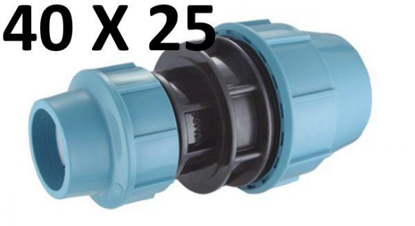 PE Rohr Kupplung 40 mm auf 25 mm Verbinder Klemmfitting