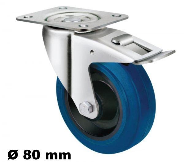 Lenkrolle 80mm Bremse Stopper Stop Feststeller mit Reifen als Elastik Wheel