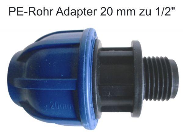 """PE Rohr Kupplung Ø 20 mm auf 1/2"""" Zoll Adapter Übergang Anschluß Außengewinde AG"""