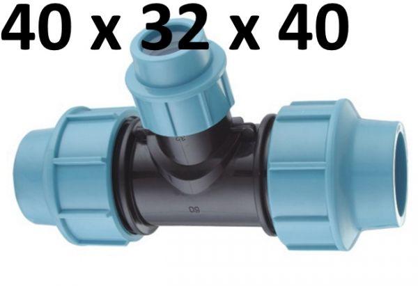 PE Rohr T-Stück 40 mm auf 32 mm Klemmring Fitting Red Reduzier Verteiler