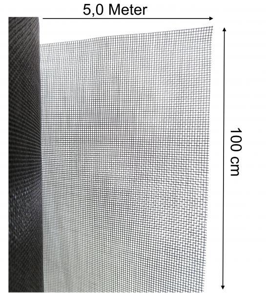 Mückennetz Fliegengitter Insektenschutz Mückengaze Fiberglas 100cm x 5m lang