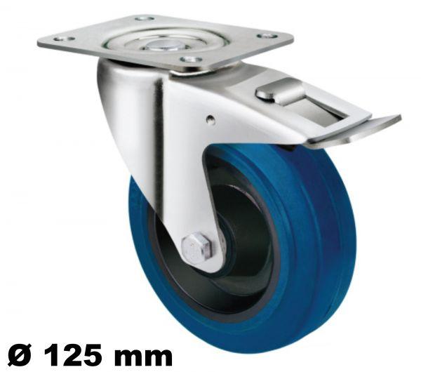 Transportrolle 125mm mit Elastik Reifen in blau Rollen-lager Platte drehbar