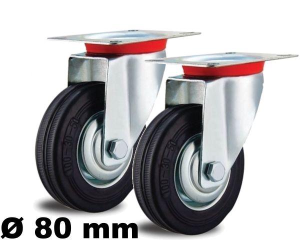 2 Lenkrollen 80mm lenkbar mit Kugelkranz Rollenlager Voll-Gummi Stahl-Felge 80