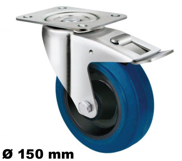 Lenkrolle 150mm mit Arretierung Stopp Bremse Elastik Reifen bis 135kg stabil