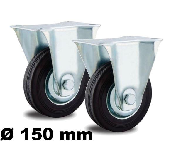2 Bockrollen 150mm Stahlfelge Voll-Gummi bis 135kg Transport-Rolle Laufrollen