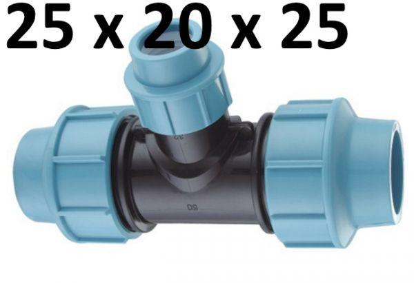 PE Rohr Verteiler T-Stück 25 mm auf 20 mm Reduzier Fittings Wasser