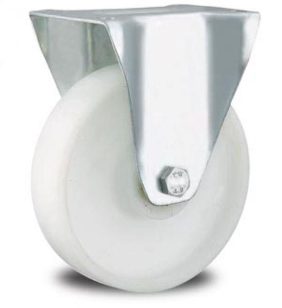 Rollen weiss Bockrolle 80 mm weiß Polypropylen PP für Hygiene kritischen Anwendung wie Lebensmittelverarbeitung, Schlachthof, Metzgerei