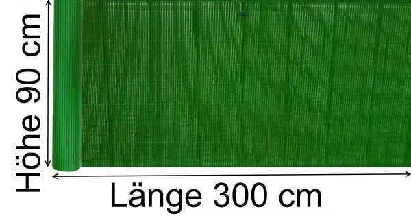PVC Sichtschutzmatte 90 x 300 cm Sichtschutz Zaun Balkon Blickschutz dunkel grün