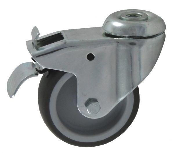 Apparaterollen 75 mm Bremse Arretierung Lauf-fläche Gummi grau zentral Rücken-loch als Lenkrolle fü