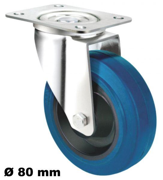 Transportrolle Rollen Lenkrolle 80 mm Blue Wheel Blaue Reifen für empfindliche Güter