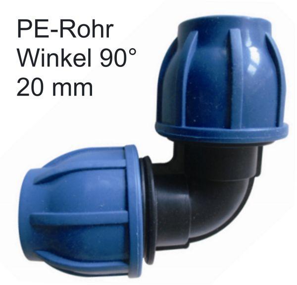 PE Rohr 20 mm 90 Ggrad Winkel Bogen Fitting Verschraubung