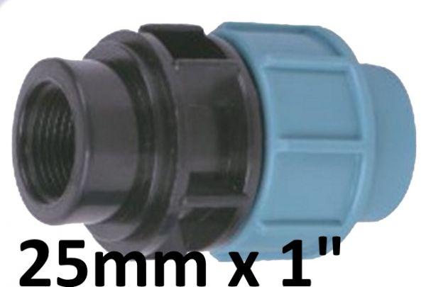 """PE Rohr Ø 25 mm auf 1"""" Zoll IG Innengewinde Kupplung Adapter Übergang"""
