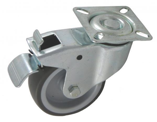 100mm Lenkrollen grau mit Bremse Feststeller als Möbelrolle Transportrolle Laufrolle graue thermopla