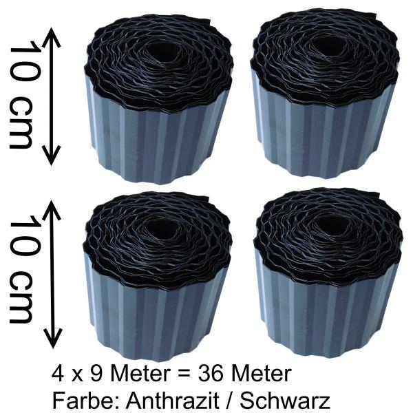 4 Rollen je 9 m Rasenkante 10cm h. 0,36€/m Gartenpalisade Beetumrandung Palisaden in schwarz