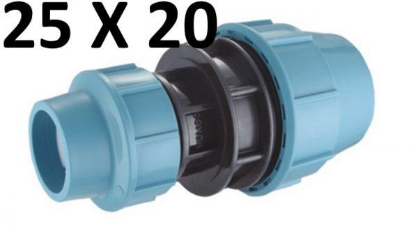 PE Rohr Kupplung 25 mm auf 20 mm Muffe Fittings Red Reduzier Stück Klemmfitting