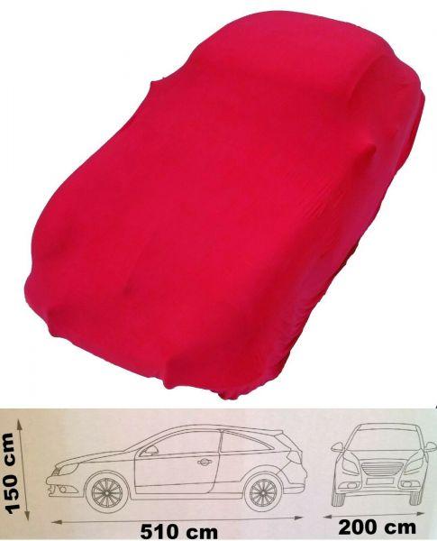 Auto Abdeckplane elastisch in rot Abdeckung soft hochwertig rote Oldtimer stretch Schutzhaube Größe L bis 5,10 Meter