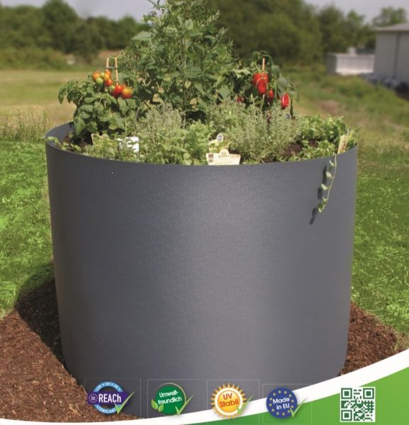 Hochbeet rund Ø100cm anthrazit RAL 7016 als Kräuter-beet Blumen-beet Gemüsebeet