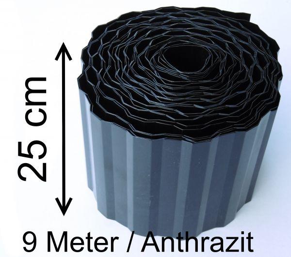 1 Rolle Rasenkante Beetrand Beeteinfassung 0,99€/m Rasengrenze Schwarz Anthrazit 9 x 25