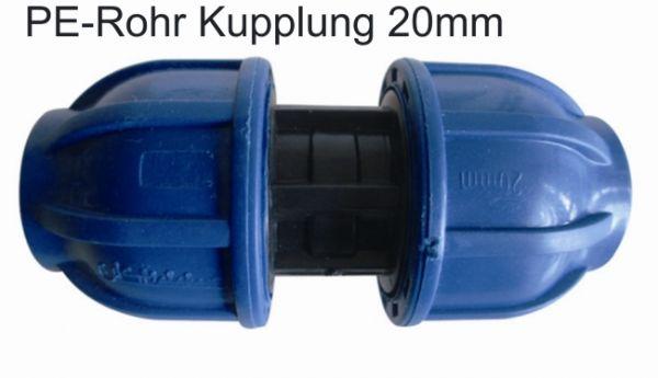 PE Rohr Kupplung Muffe Fitting Ø 20 mm Verschraubung Rohre Verbindung Wasserrohr