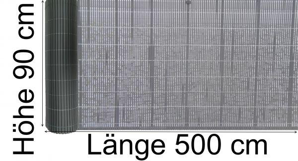 PVC Sichtschutzmatte 90 cm x 500 cm Sichtschutzzaun Garten Balkon Zaun mit Befestigungskit grau anth