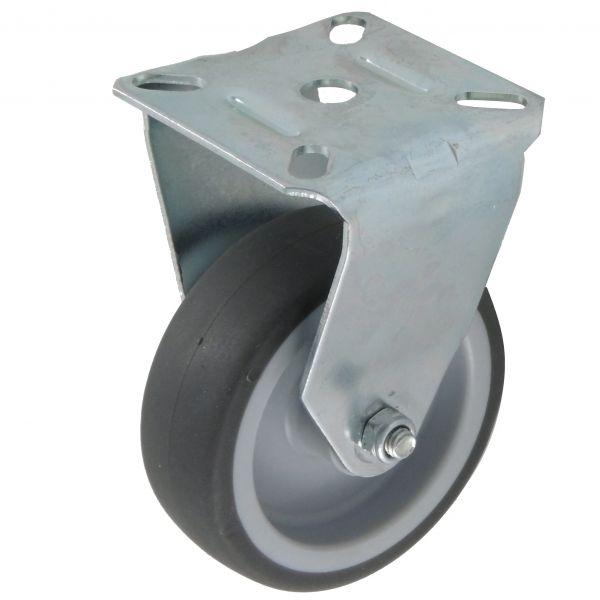 Apparaterollen 75 mm Lauf-fläche Gummi grau mit Platte als Bockrolle für Transportrolle oder Geräter