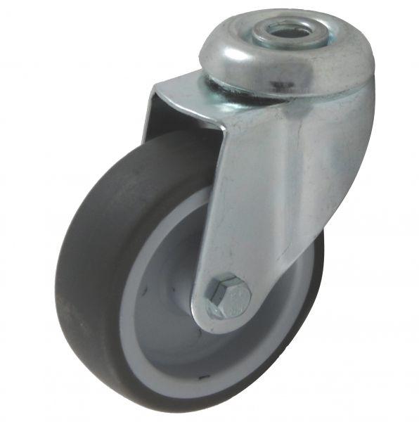 100 mm Lenkrollen mit zentral Rücken-loch grau als Möbelrolle Transportrolle Laufrolle graue thermop