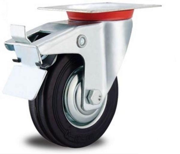 Lenkrolle mit Bremse Transportrollen Vollgummi Reifen 80 mm Gummi schwarz Kugellager mit Fadenschutz