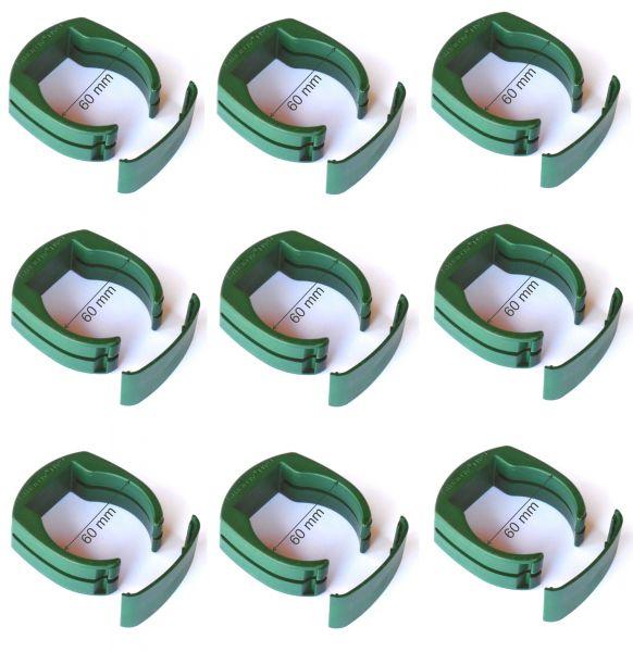 9 x 60 mm Pfahl-Schelle für Tor-Pfosten Gartentor Schweißdraht Gartengitter grün Halter Clip Befestiung