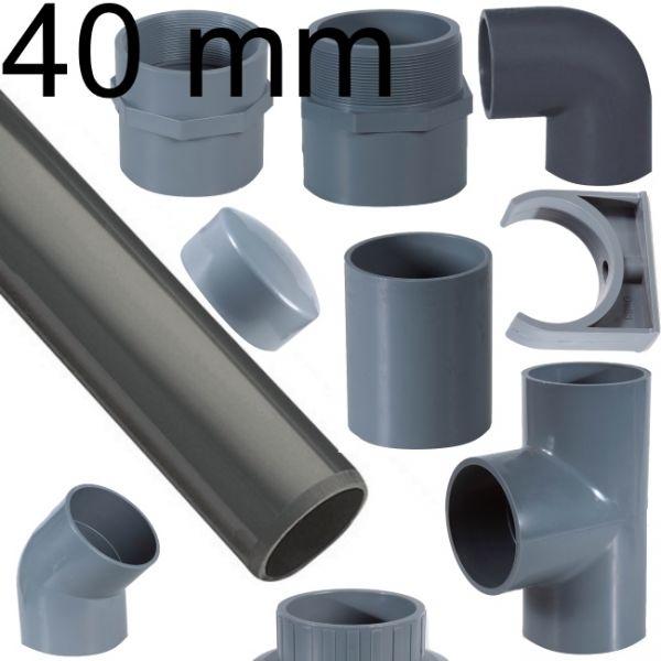 PVC Rohr 40 mm mit Verbinder T-Stück Winkel Übergang Adapter Reduzier Stück Fitting