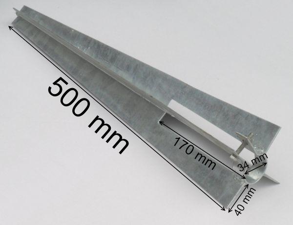 EXCOLO Bodenhülse Einschlaghülse Ø 34 mm Pfostenträger 50 cm für Zaunpfosten Gartenzaun